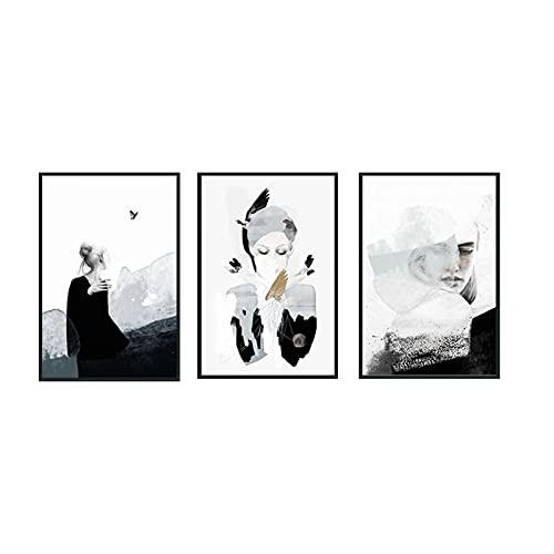 YABINGA Arte de Pared Impresión de Imagen Estilo euroamericano Chica Dibujo Abstracto Sala de Estar Porche Lienzo Pintura Decoración para el hogar (30x40cm) × 3pcs Sin Marco