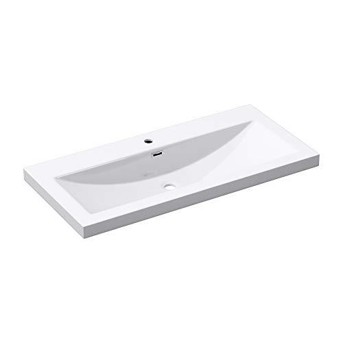 BTH: 100x48x13 cm Design Waschbecken Colossum01, aus Gussmarmor, Waschtisch, Waschplatz, Aufsatzwaschbecken