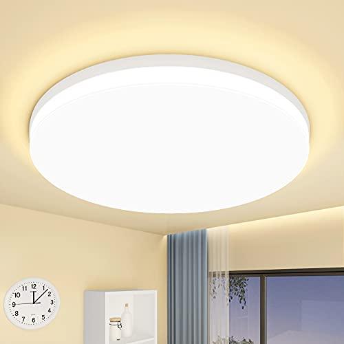 LED Lámpara de Techo 18W Plafon Techo LED Moderna Blanco Cálido 3000K Impermeable IP44 1650LM Plafon LED de Techo para Baño Cocina Sala de Estar Pasillo Habitacion Comedor Balcón…