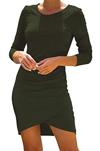LaSuiveur Women's Casual Long Sleeve Ruched Bodycon Wrapped T Shirt Dress