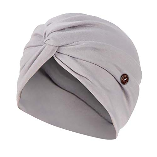 VEFSU Beanie Knot Solid Color Head Wrap with Buttons for Face Holder Dust Cap Beautician Beauty Cap Hair Care Cap(Gray)