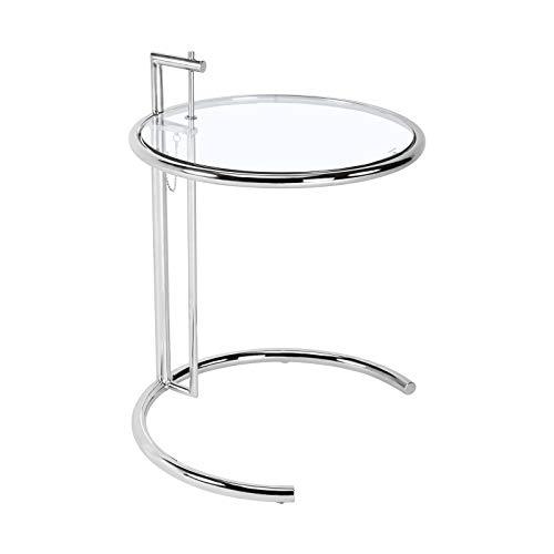Moderna mesa auxiliar regulable en altura, mesa redonda de café, mesa de salón, mesa de metal decorativa con estructura de cristal, 46 cm de diámetro, color plateado