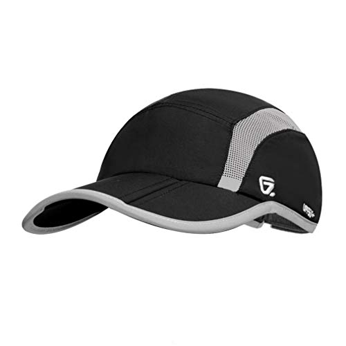 GADIEMKENSD Quick Dry Sports Hat Lightweight Breathable Soft Outdoor Run Cap (Folding Series, Black)