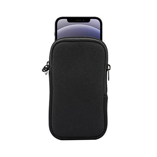 Neoprene Cell Phone Sleeve, Zip Wallet Pouch with Neck Strap for iPhone 12/12 Pro / 11 Pro/iPhone 12 Mini/iPhone SE 2020 / X/XS / 8 / LG Aristo 5/4 / 3 / LG Phoenix 5/4 / LG Riso 4 / Rebel 4 (Black)