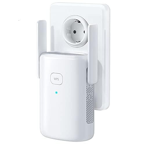 1200 Mbps, Répéteur WiFi, Amplificateur WiFi, WiFi Booster, AP, 2,4 GHz, 5Ghz, avec Port Ethernet , WPS, Facile à Installation, Compatible avec Tous Les routeurs
