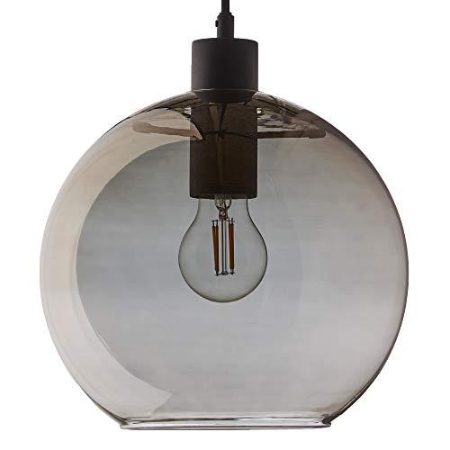 Kyoto Round Pendelleuchte, transparent elektrogalvanisiert H 18cm Ø 25cm Stoffkabel schwarz 300cm Baldachin Metall schwarz HxØ 2,5x12,5cm