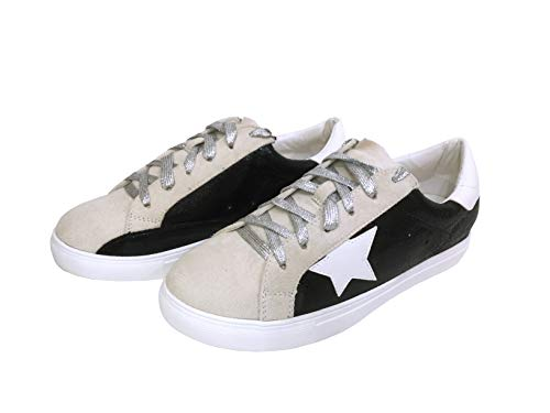 Nature Breeze Women Classic Two Tone Star Lace Up Fashion Sneaker,Black Metallic,8