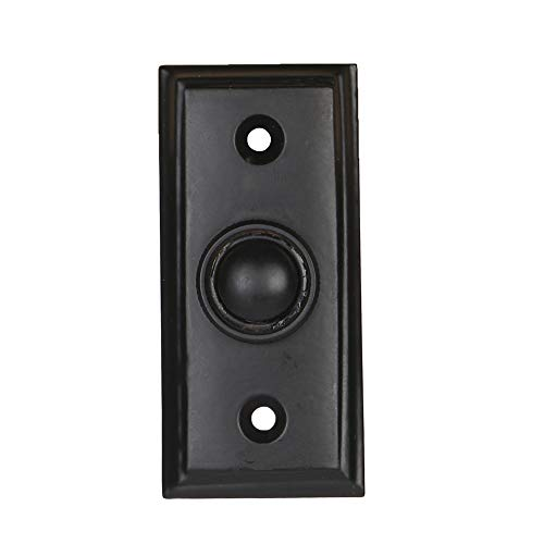 Wired Iron Doorbell Chime Push Button in Black Powder Coat Finish, Vintage Decorative Door Bell with Easy Installation, 2 9/16' X 1 3/16'