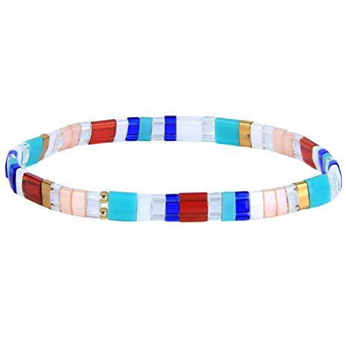 KANYEE Bracelets D'amitié Bracelets Perlés Tila Coloré Bracelets élastique Fait Main pour Femme – 40F