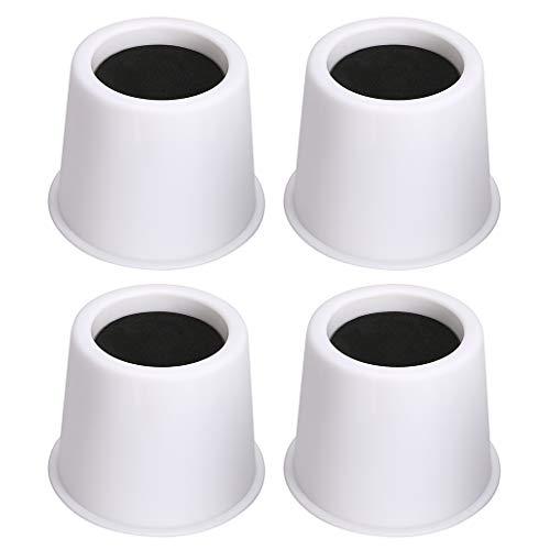 BTSKY Lot de 4 rehausseurs ronds pour lit, table, meubles, élévateurs, Plastique, blanc, 3 Inches