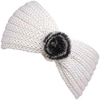 MOPOLIS Fashion Women Ladiess Headband Knit Hairband Ball Winter Ear Warmer Head Wrap | Colors - beige