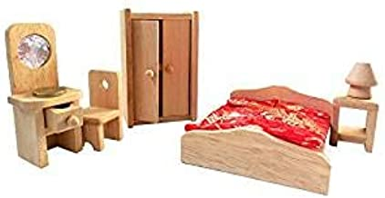 Shy shy - Wooden Dollhouse Furniture Set with Lounge, Bathroom and Kitchen (Bedroom)