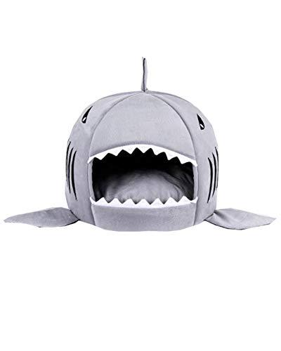 Suncaya Cama para Mascotas Mascotas tiburón casa Redonda del Perrito de la Cama Gris S