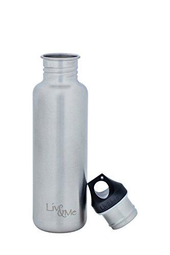 Liv&Me Edelstahl Trinkflasche 'Spirit' mit Halb Edelstahl Schraubdeckel 'Trust'. Auslaufsicher, stabil, lebensmittelechte Flasche für Sport, Schule und Kinder, Größe 750 ml