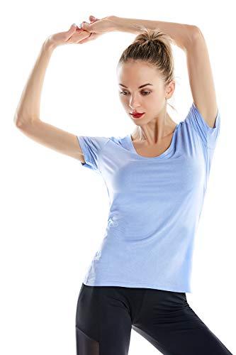 Zengjo Dryfit Yoga Shirts for Women(M,Sky Blue Heather)