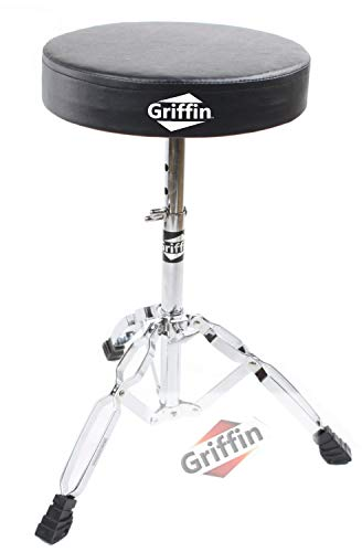 Drum Throne Stand by Griffin | Padded Drummer's Seat | Comfortable Drum Set Percussion Stool for Adults | Professional Double Braced Hardware Chair for Practice with Adjustable Height from 18' to 23'