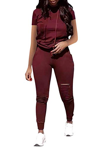 Women Casual 3 Piece Sport Outfits Short Sleeve Ripped Hole Pullover Hoodie Sweatpants Set Jumpsuits (Wine Red, XXL)