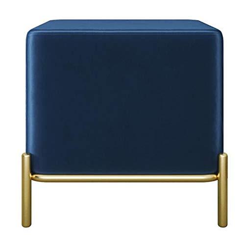 TABOURET Repose-pieds en cube gris, pieds en métal doré, banc à chaussure carré, banc de canapé for magasin de vêtements multifonctionnel, salon au bout de lit (Color : Navy blue)