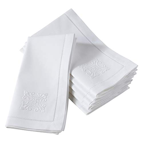 SARO LIFESTYLE NM166.W20S The Broderie Collection Cotton Table Napkins with Embroidered Ornament Design (Set of 6), 100%