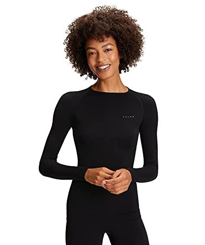 FALKE Damen Warm Tight Fit W L/S SH Baselayer-Shirt, Schwarz (Black 3000), M