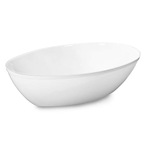 Sovie Servingware |Servierschüssel oval in Weiß 1890ml aus PS (Polystyrol) | Schale Salatschale Schüssel | 1 Stück