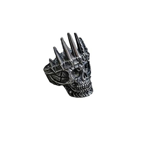 VUJK Anillos corona rey nobleza clásica para hombre, anillos motorista acero inoxidable 316L con calavera, anillos joyería Punk Fasion 13