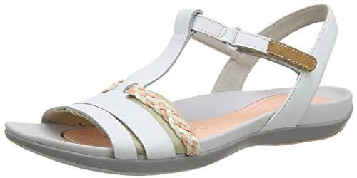 Clarks Tealite Grace, Sandalias con Tira Vertical para Mujer, Blanco (Blanco White Leather), 39 EU