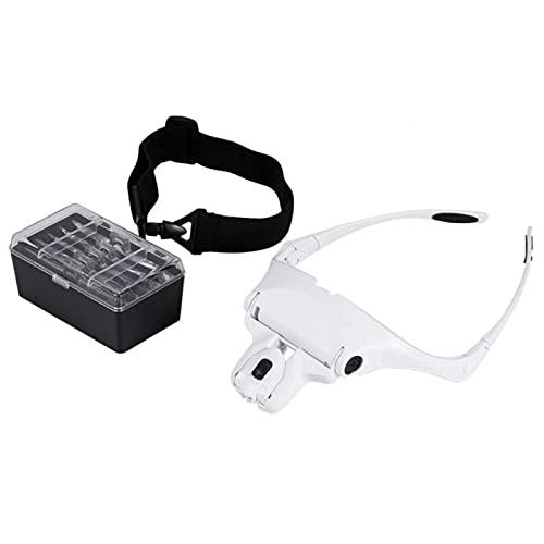 Lupa de montaje en la cabeza, nueva lupa de 5 lentes para auriculares con luces LED, lupa de mano libre, extensión de pestañas para leer, lupa de joyeros 5 lentes 1.0X 1.5X 2.0X 2.5X 3.5X