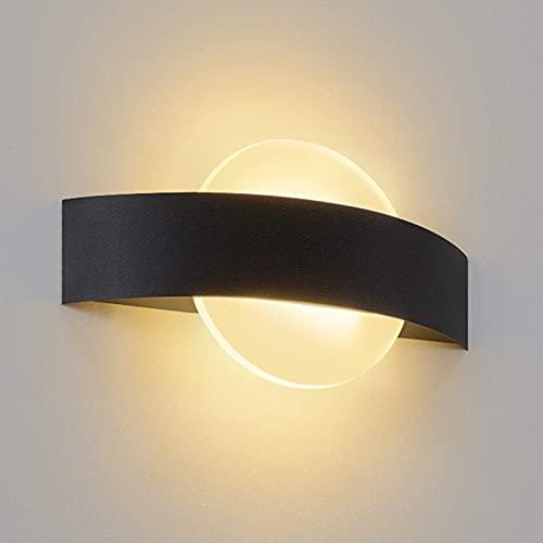 Lámpara De Pared LED Lámpara De Pared Interior Sala De Estar Lámpara De Noche Moderna Blanca Cálida Lámpara De Cama Hecha De Acrílico 6W Para Pasillo Escalera Dormitorio Habitación Infantil,Negro