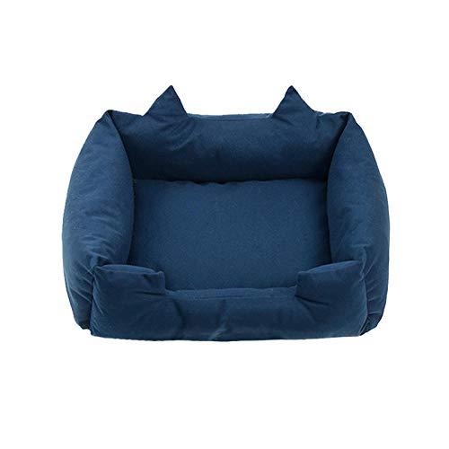 Cama para Perros de Felpa Suave y cálida Cama para Perros Cama para Dormir mullida sofá para Mascotas Perros pequeños y medianos de Varios tamaños -Azul Marino_XL-78 * 58 * 14 cm