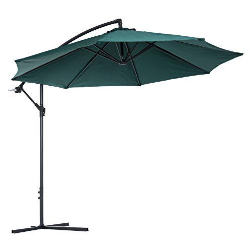 Outsunny Sombrilla Reclinable de Jardín o Patio Parasol para Exterior Verde Oscuro Acero y Tela de Poliéster 180g/㎡ Φ3 x 2.6m (Diámetro x Alto)