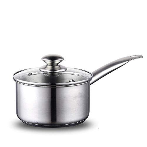 SMEJS Parte Inferior de Acero Inoxidable de un Solo Recipiente Compuesto cazuela Domésticos de Cocina Duradero Seguro crisol de cocinar con Tapa de Vidrio