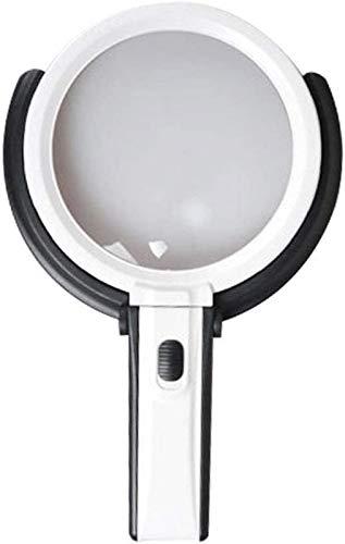 Mnjin Lupa de Escritorio Plegable portátil 5X 10x HD con luz LED de Mano para Personas Mayores Tamaño de Lectura - Espejo Principal 138 mm, Espejo asistido 25 mm