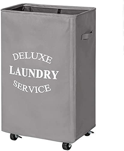 Chrislley Cesto para la ropa sucia con ruedas de 90 litros, plegable,...