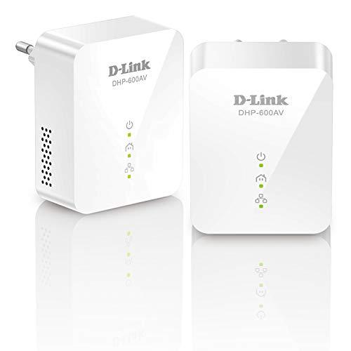 D-Link DHP-601AV (2x DHP-600AV), Kit PLC PowerLine AV2 (1000 Mbps, Ethernet Gigabit, para Vídeo Streaming 4K)