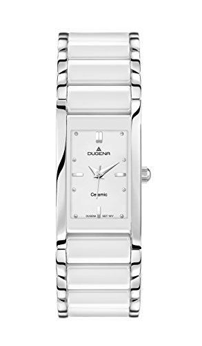 Dugena Damen Quarz-Armbanduhr, Keramik, Gehärtetes Mineralglas, Quadra Ceramica, Weiß/Silber, 4460506
