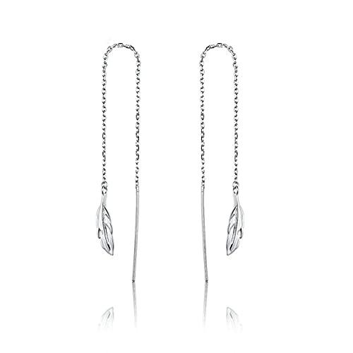 Feather Tassel Ear Line 925 Sterling Zilver Hypoallergene Threader Opknoping Lange Ketting Oorbellen Dames Sieraden