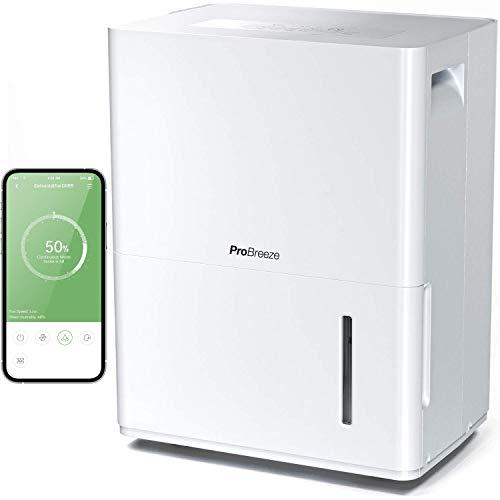 Pro Breeze Deshumidificador 30L con App Gratuita y Conectado a Wifi. Con Panel de Control Digital, Drenaje Continuo y Temporizador