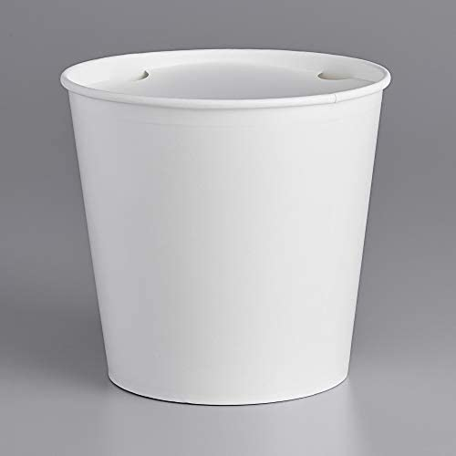 170 oz White Bucket Pack of 10 tekbotic Disposable Paper Cardboard Food Buckets with Lids for product image
