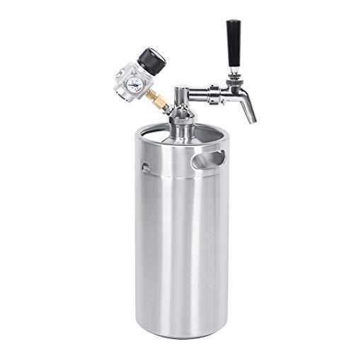 Barilotto di birra, barilotto di birra automatica da 3,6 litri barile di birra + rubinetto + lancia + manometro a pressione costante di 2 classi per la conservazione e la distribuzione
