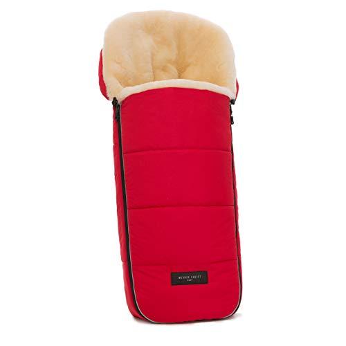 WERNER CHRIST BABY Lammfell-Fußsack FLIMS – kuscheliger Buggy-, Kinderwagen-Fußsack, aus medizinischem Fell, universal, in chili red