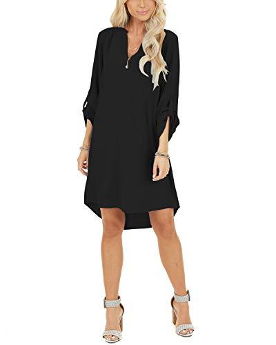 YOINS Damen Kleider Tshirt Kleid Sommerkleid für Damen Brautkleid Langarm Minikleid Kleid Langes Shirt V-Ausschnitt Lose Tunika mit Bowknot Ärmeln Schwarz S