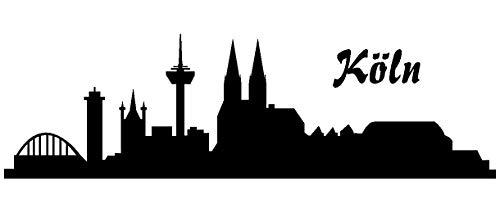 Samunshi® Autoaufkleber Köln Aufkleber Skyline in 8 Größen und 25 Farben (15x4,4cm schwarz)