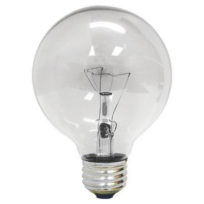 GE 64509 60 Watt, G25 Decorative Globe Light Bulb, Crystal Clear, Pack of 12