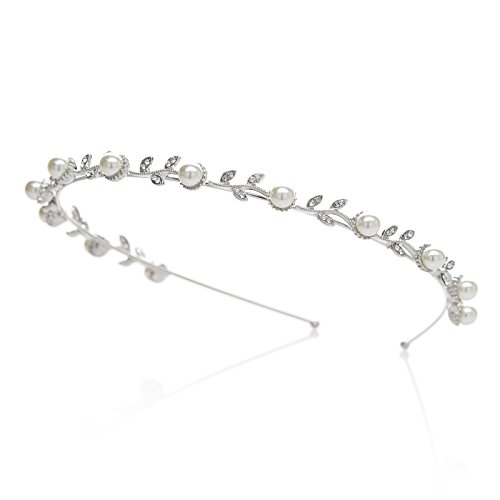 SWEETV Perle Hochzeit Stirnbänder Single Bund Haarband Braut Kopfschmuck Haarreifen