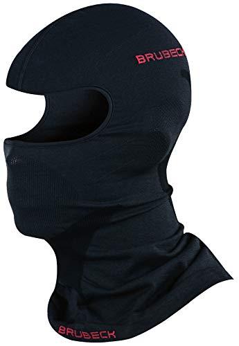 BRUBECK Sturmhaube Motorrad | Gesichtshaube | atmungsaktive Gesichtsmaske Skimaske nahtlos | Balaclava Helm Radfahren | Windmaske Fahrrad | 41% Merino | Gr. L - XL | Schwarz | KM10370 | X-FACE