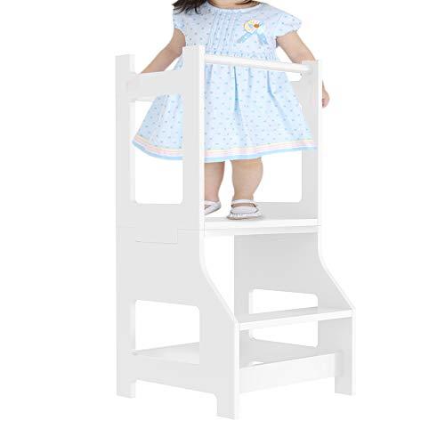 Sgabello per bambini con 2 gradini, torre di apprendimento per bambini, torre di guida per bambini, torre in piedi per bambini (bianco)