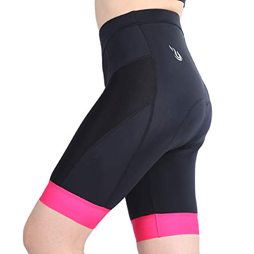 beroy Damen 3D Gel gepolsterte Fahrrad-Shorts, schnelltrocknend, Mädchen-Fahrrad-Shorts (Pink, L)