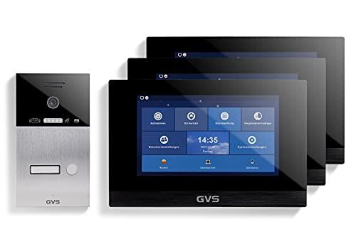 GVS Videoportero IP IP65 con RFID, monitor de 3 x 10 pulgadas, aplicación, cámara HD de 150°, apertura de puertas, memoria de 32 GB, interruptor PoE, 1 set para vivienda familiar, AVS4065U