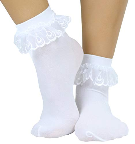 ToBeInStyle Women's Lace Ruffle Anklet Socks - White - One Size